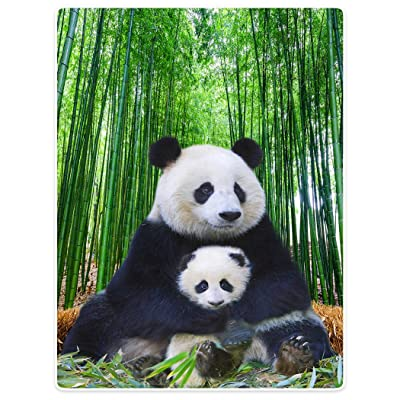 """Super Soft Warm Blankets Sofa Bed Throw Cute Panda Mom and Child Bamboo Animal 40"""" x 50"""": Home & Kitchen"""