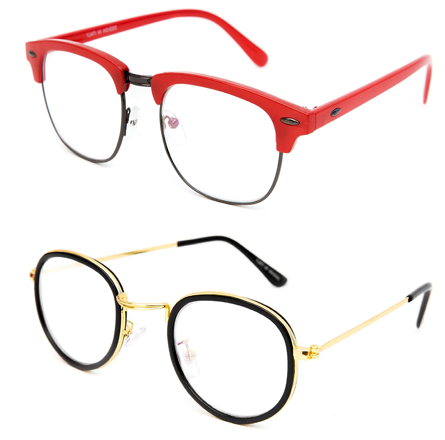 a5b71de657 TheWhoop Combo Red Wayfarer And Golden Round Spectacle Sunglasses For Men