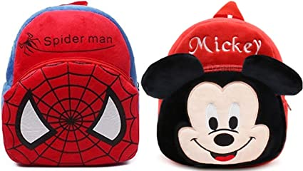 DZert Kids Soft Plus Spiderman and Mickey Travelling Backpack (2-5 Years) - Pack of 2