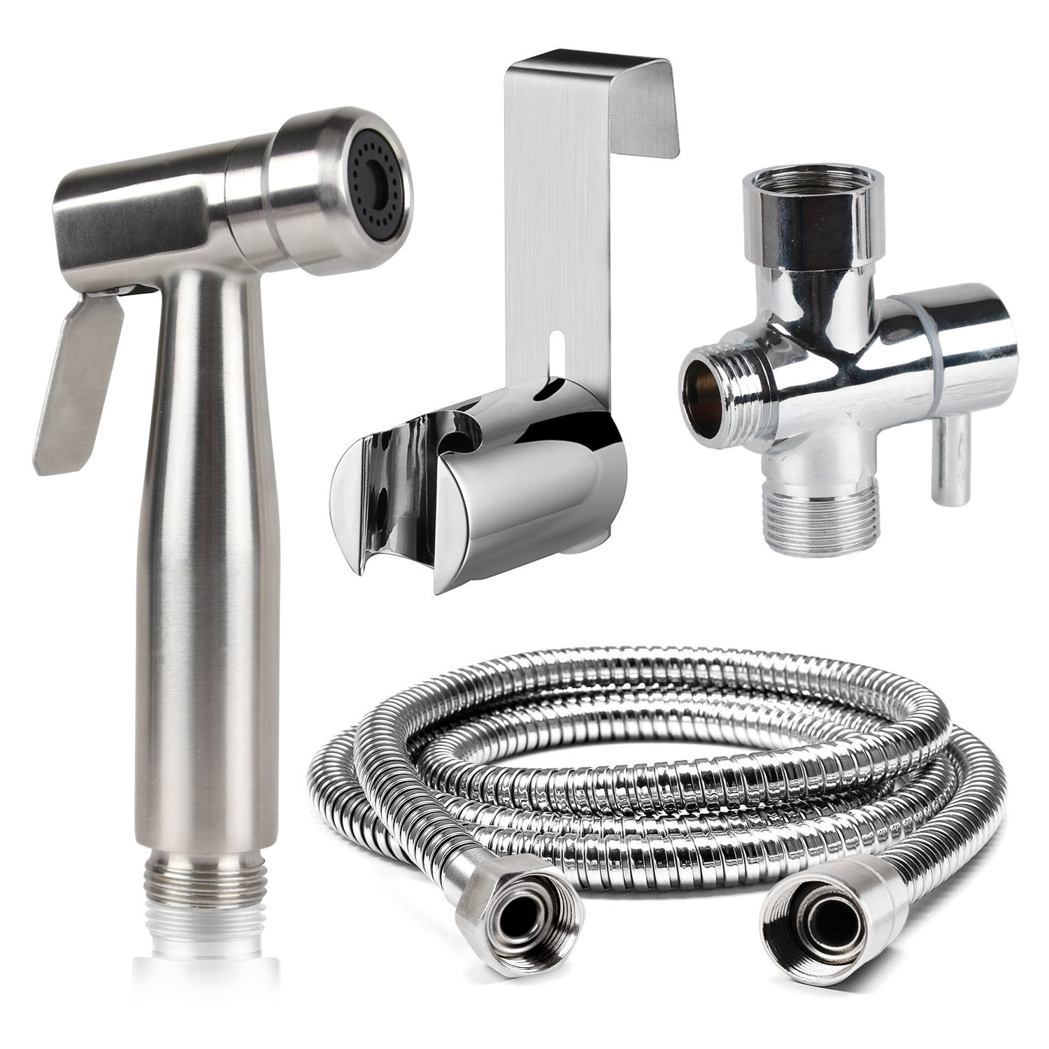 Cloth Diaper Bidet Toilet Sprayer, Adjustable Handheld 304 Stainless Steel Water Cleaner Set for Toilet Attachment with Water Pressure Control Shut-off, 55 Inch Hose and Mounting Clip Adapter