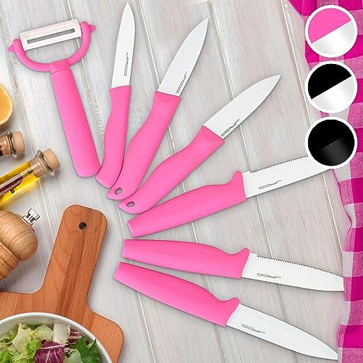 Juego de cuchillos de 7 piezas con el estuche de color rosa-blanco