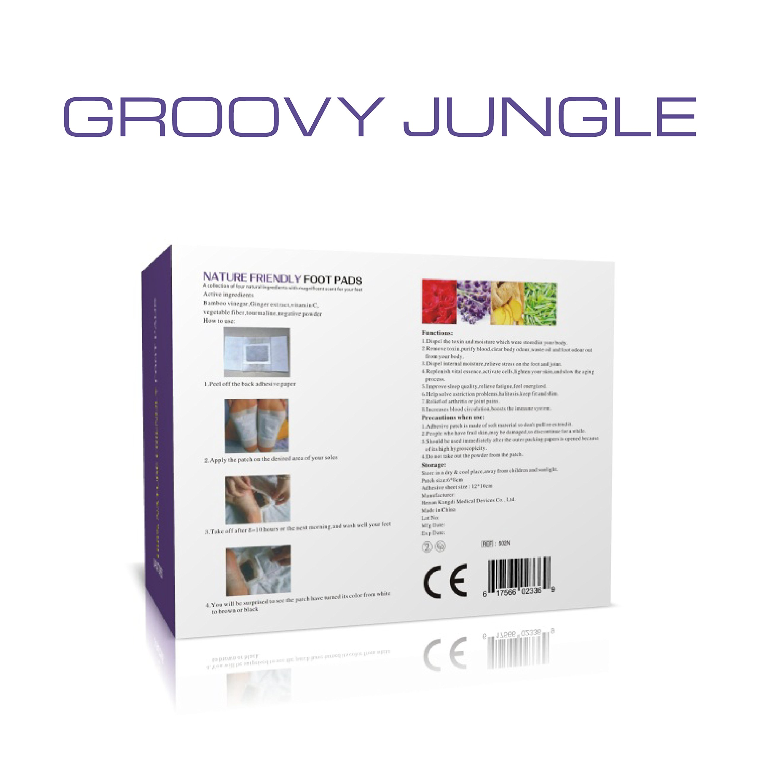 Detox Foot Pads by Groovy Jungle | Top Quality Cleansing Foot Pads | New Advanced Formula | 24 Pack by Groovy Jungle