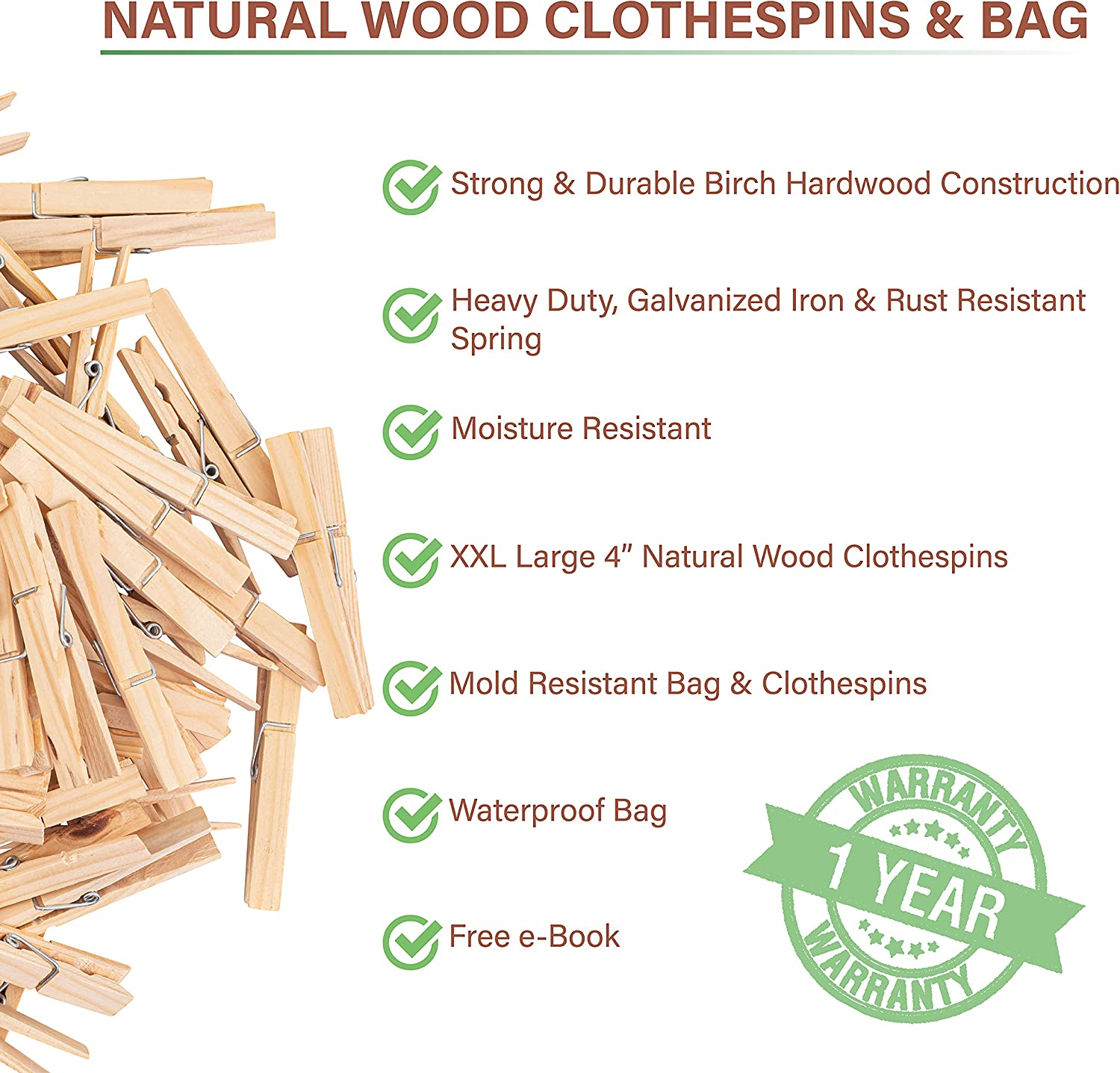Jumbo Heavy Duty /& Natural Birch Wood Clothes Pegs with Large Waterproof and Dust-Proof Clothes Pin Bag for Indoor or Outdoor Clothesline Balffor 100 Large Wooden Clothespins /& Clothespin Bag