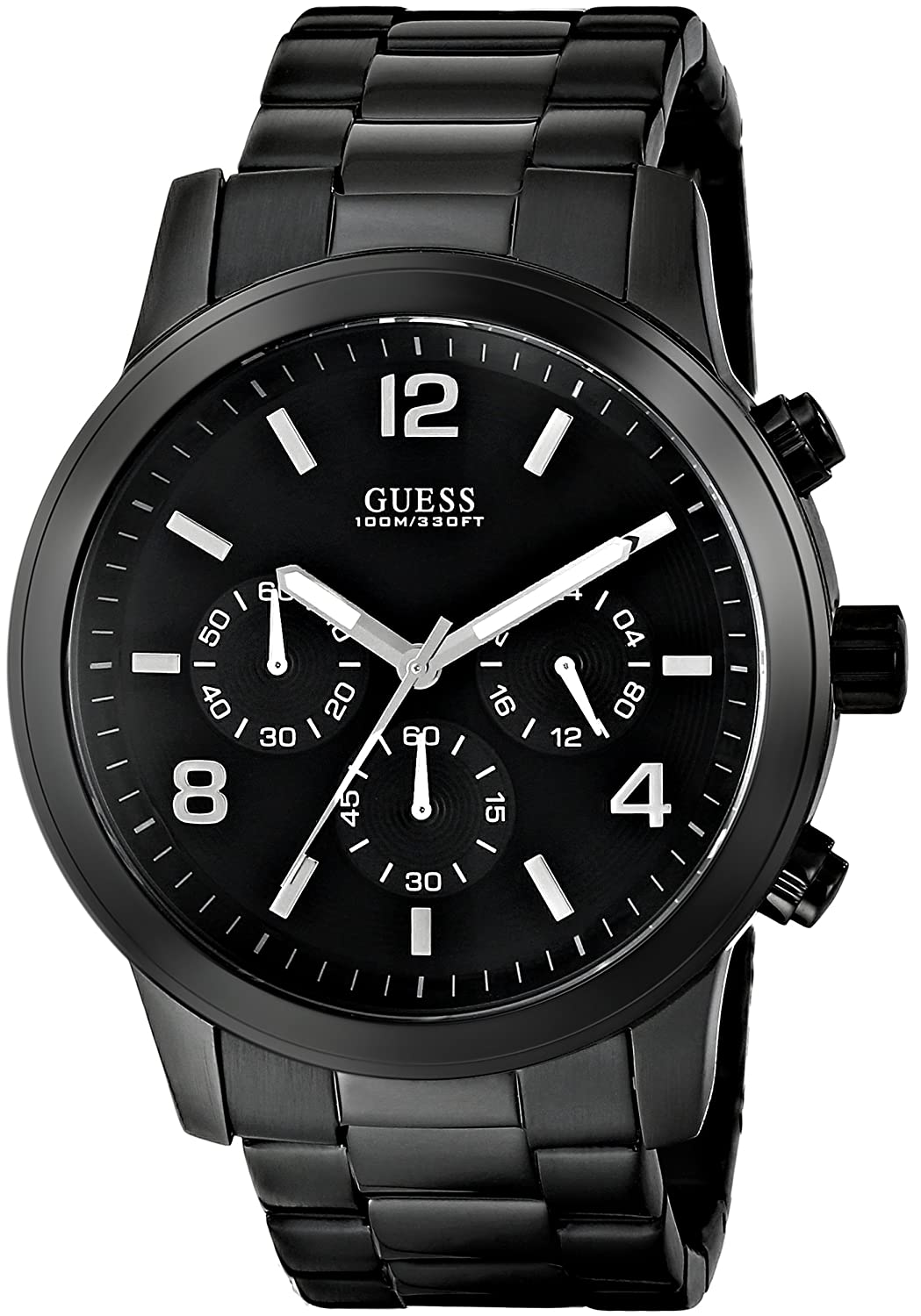 amazon com guess men s u15061g1 sporty black stainless steel amazon com guess men s u15061g1 sporty black stainless steel watch chronograph dial and deployment buckle guess watches watches