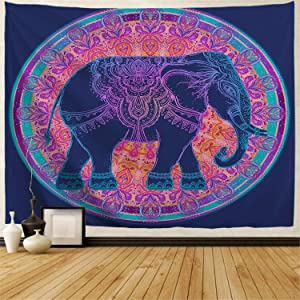 BJHAP Teal Elephant Tapestry Blue and Purple Mandala Tapestry Wall Hanging Dorm Decor Fabric Psychedelic Hippie Flower Tapestry Bohemian Bedspread Bedding Bed Cover Picnic Blanket 80x60 Inches