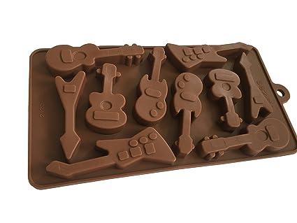 Royal House Ware Molde con diseño de guitarras, de silicona, para Chocolate