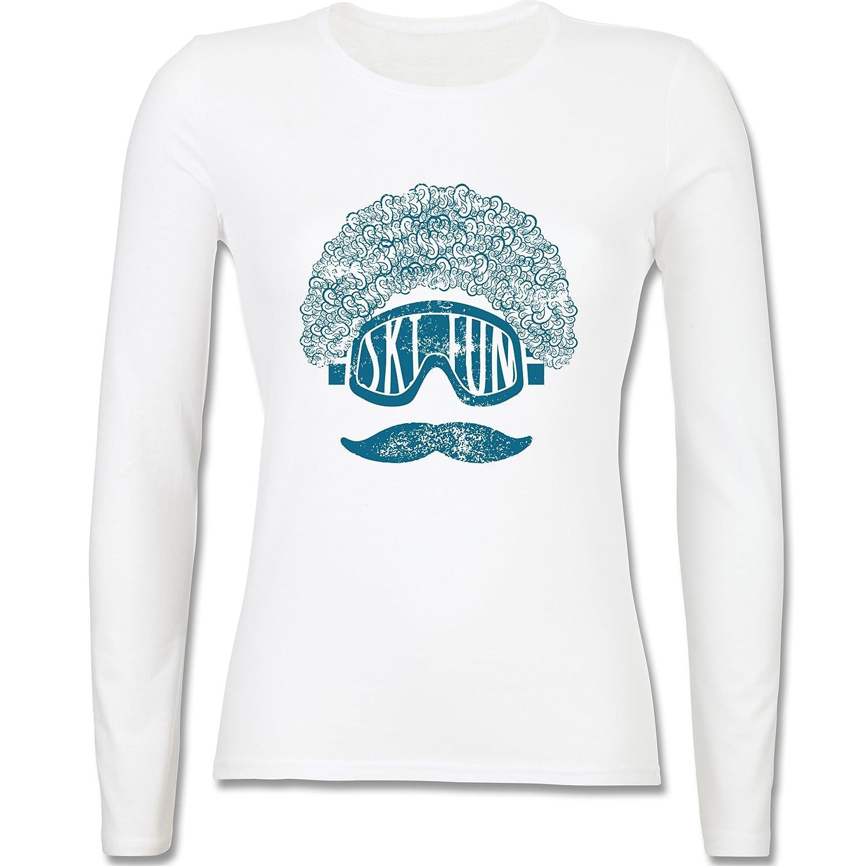Après Ski - Ski Fun Moustache - tailliertes Longsleeve / langärmeliges T-Shirt für Damen
