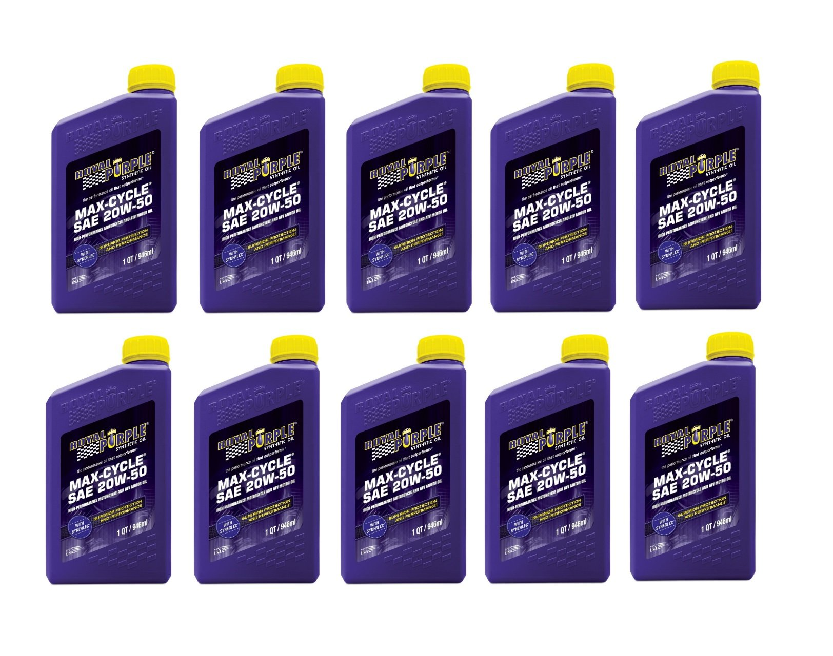 Royal Purple Max Cycle 20W50 High Performance Synthetic Motorcycle Oil - 10 Quart Case