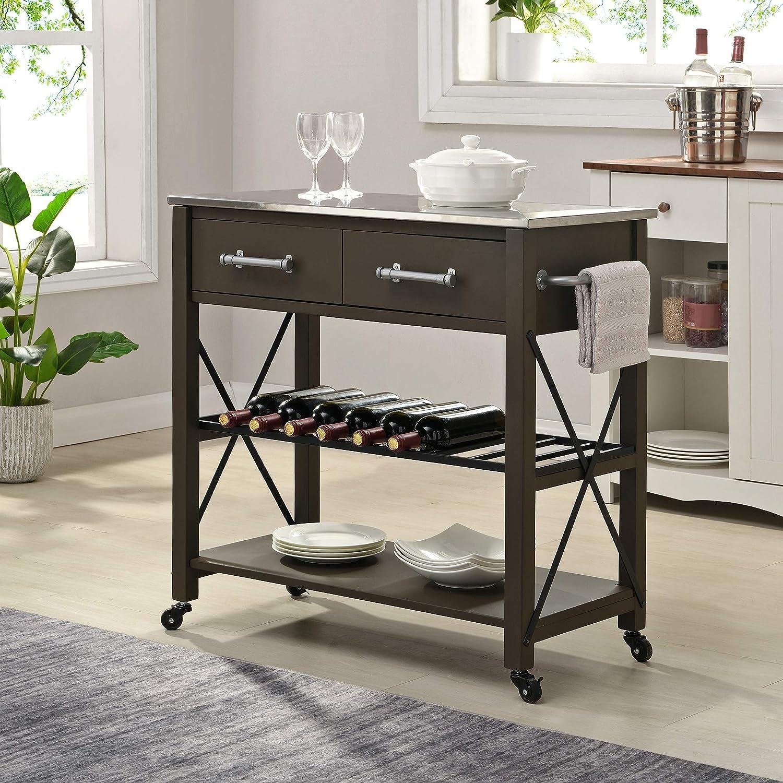 FirsTime & Co. Espresso Steel Aurora Farmhouse Kitchen Cart, American Designed, Espresso, 31.5 x 16 x 31.5 inches 70257