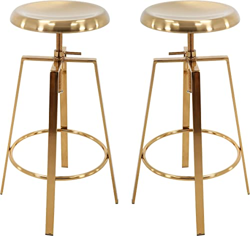 Brage Living 4-Legged Gold Backless Metal Round Seat Adjustable Height Bar Stool