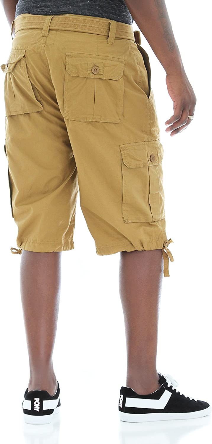 Ablanche Mens Washed Twill Belted Cargo Shorts