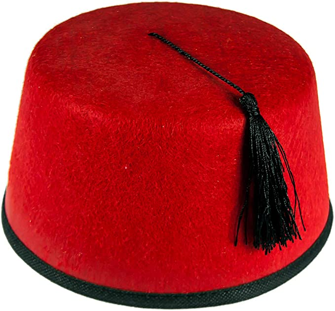 AUTHENTIC TURKISH FES TARBOOSH,OTTOMAN HAT FES ADULT RED FEZ WITH TASSLE