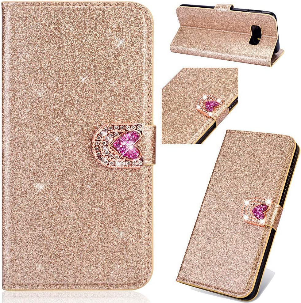 Gold Felfy Kompatibel mit Huawei P10 Lite H/ülle,Kompatibel mit Huawei P10 Lite Handyh/ülle Glitzer Diamant Strass Schutzh/ülle PU Leder Flip Case Cover Magnetische Brieftasche mit Kartenfach
