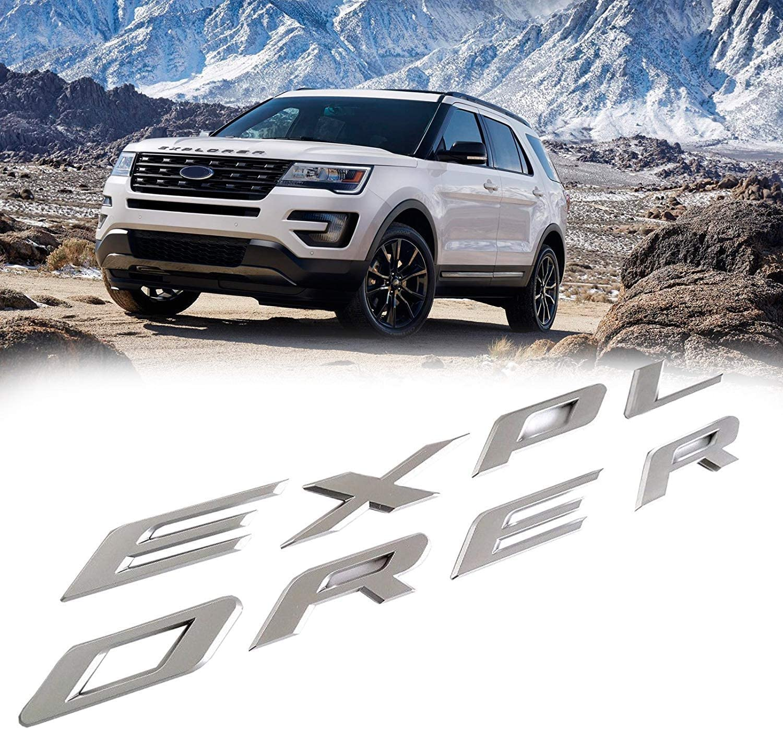 3D Letters ABS Front Hood Emblem Explorer Sport Hood Letters Stickers For Ford 2011-2019(Matte Silver)