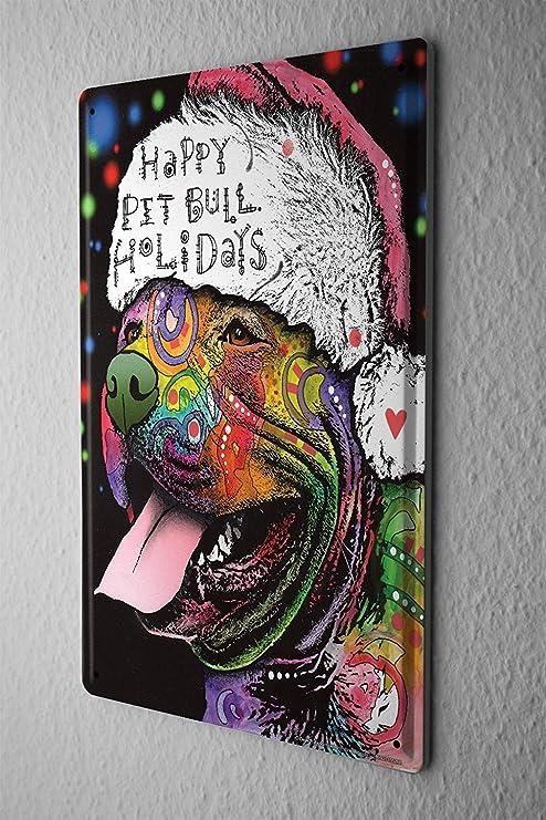SIGNCHAT - Cartel de Metal para Perro, diseño de Pitbull de ...