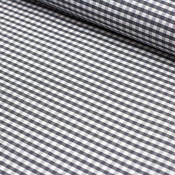 Stoff Beschichtete Baumwolle Amel Vichy Karo Grau 5mm Stoff