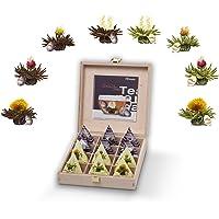 Creano Teelini thee bloemen in kopjesformaat, cadeauset in houten theekist, 12 theebloemen in 8 variëteiten - Witte Thee…