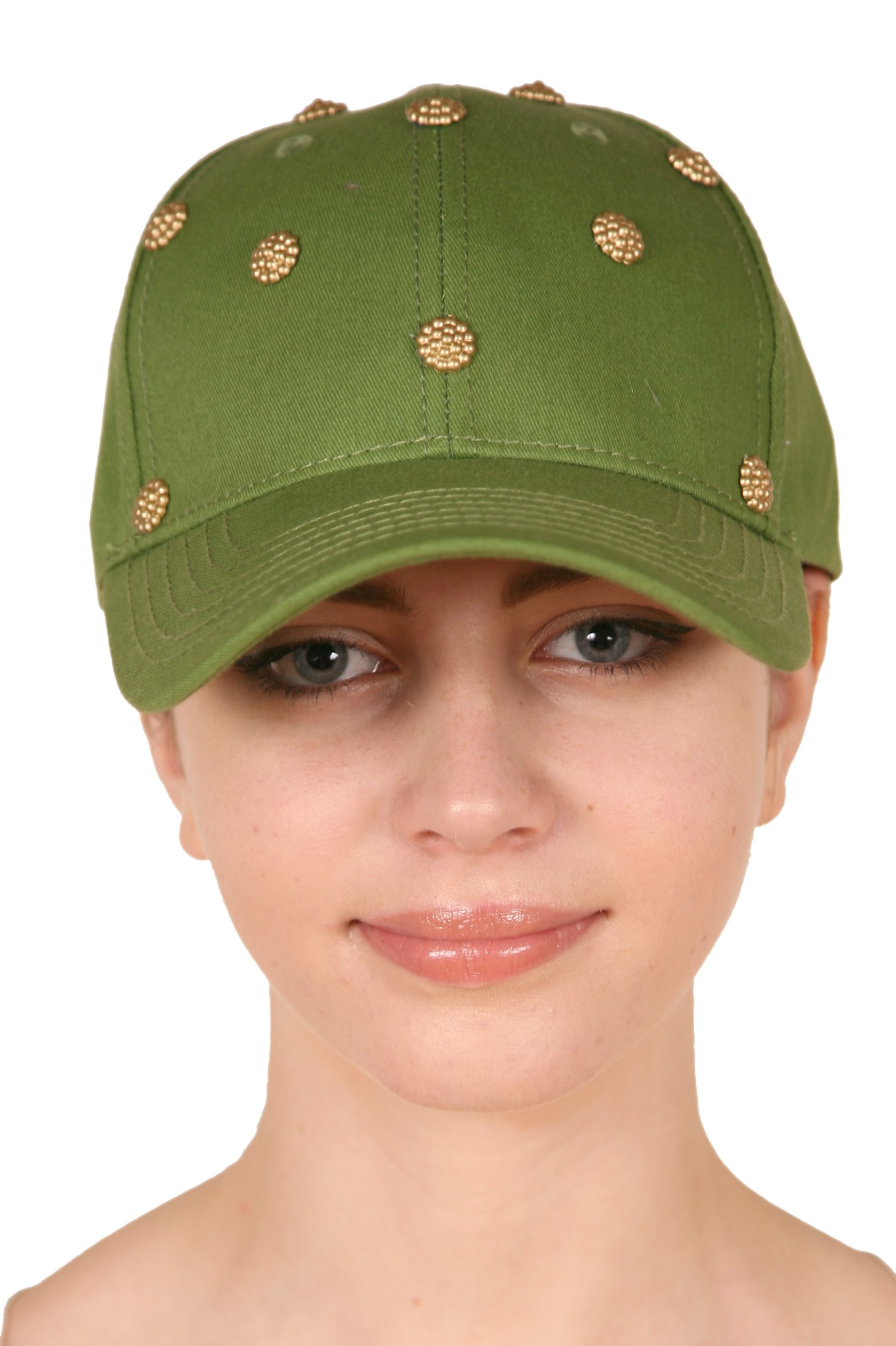 Love Lakeside Solid Color Baseball Cap, Hat Embellished, Adjustable, Cotton Blend Moss Green With Gold