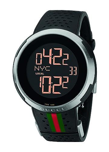 Gucci I-Gucci Digital negro correa de caucho reloj para hombre (modelo: YA114103