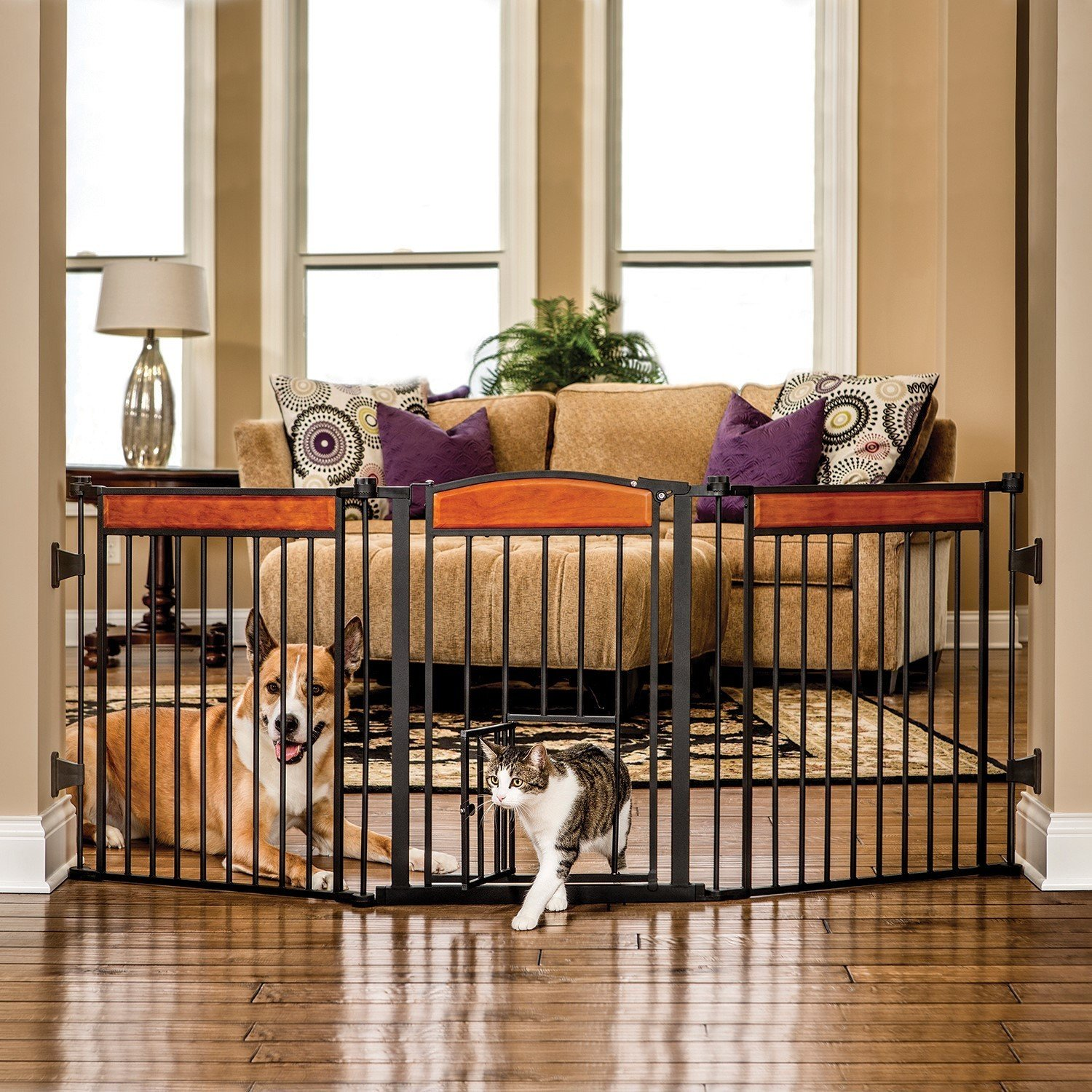Sturdy, Durable Reliable Easy Set Up, Care And Store Paw Arched Flexi Pet Gate BLACK - Great For Keeping Small Children And Pets Safe!