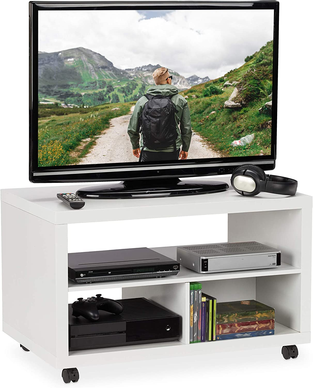 Relaxdays 10025959_49 Mueble TV Ruedas, Almacenaje DVD, Mesa Televisión, Tablero de Partículas y Plástico, 50 x 80 x 50 cm, Blanco