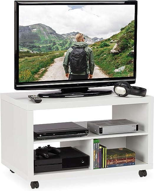 Relaxdays 10025959_49 Mueble TV Ruedas, Almacenaje DVD, Mesa ...