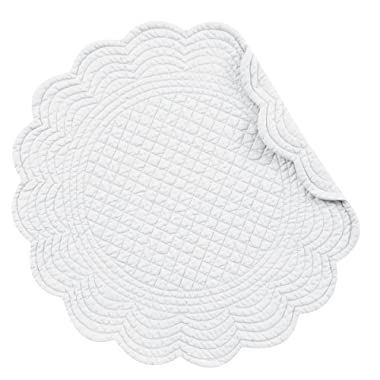Set of 4 PCS Quilted,17  Round Placemats, White