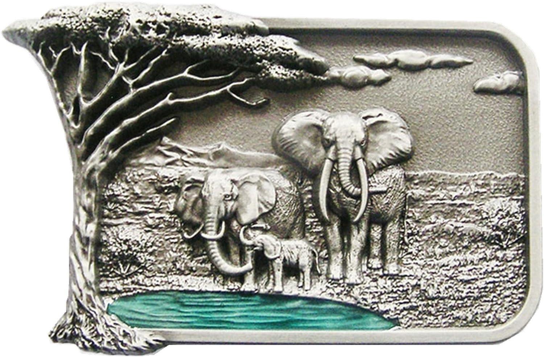 New Vintage Style Africa Elephant Big Tree Wildlife Western Cowboy Cowgirl Belt Buckle