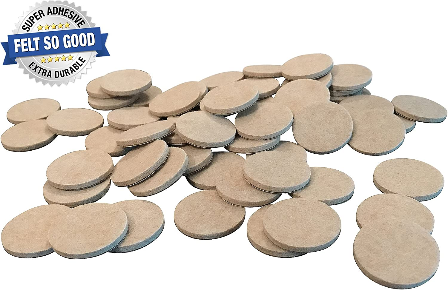 "Felt So Good 8802E Self Adhesive Felt Furniture Pads 1-1/2"", Beige, 60 Pack"