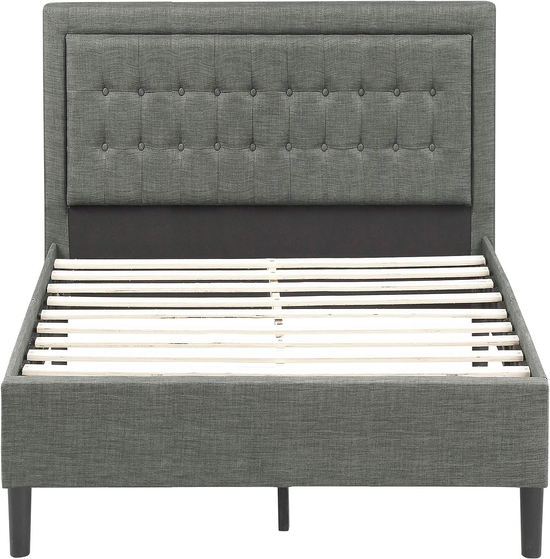 FLIEKS Upholstered Platform Bed Frame Mattress Foundation with Wooden Slat Support and Tufted Headboard Light Grey, Queen