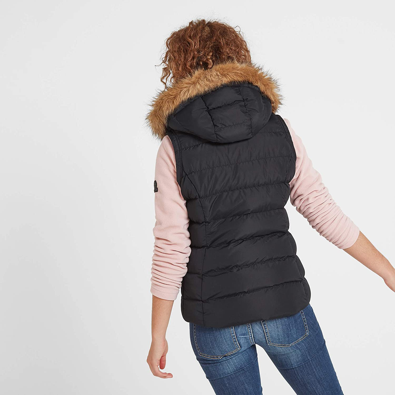 Adjustable Hood with Removable Faux Fur Trim TOG 24 Yeadon Womens Hooded Gilet Warm Lightweight Quilted Padded Wind Resistant Vest Jacket Bodywarmer with Insulated Thermal Filling Ideal Mid Layer