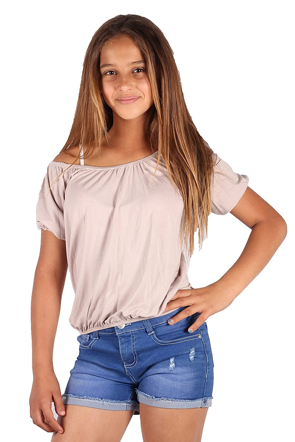 Lori/&Jane Short Sleeve Top Loose Fit Top for Girls Gathered Off Shoulder Made in USA