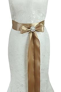 Cinturón de adorno hecho a mano de Lemandy, con cristales para vestido de novia o