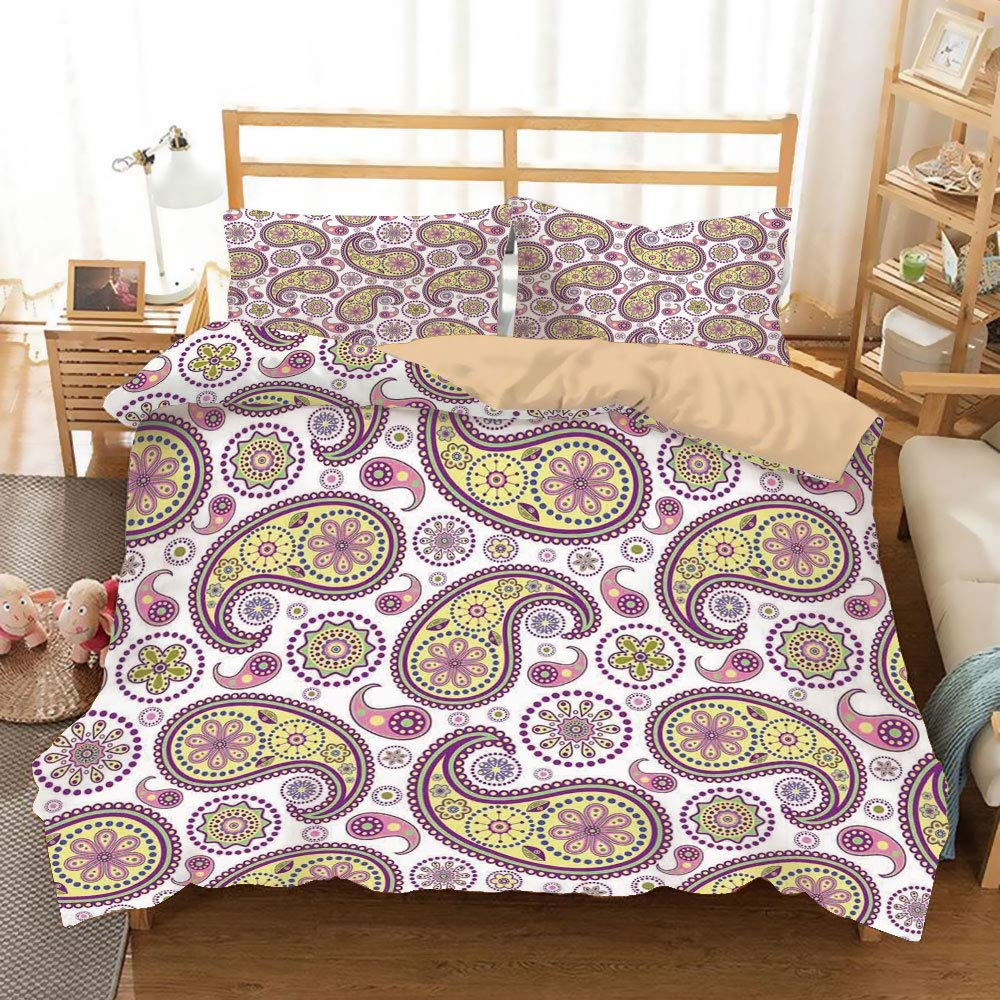 SoSung Paisley Khaki Duvet Cover Set Twin/Twin XL Size,Ethnic Hippie Style Print Vivid Colors Art Design Bohemian Home Bedroom Decor,Decorative 3 Piece Bedding Set with 2 Pillow Shams,Lilac Yellow