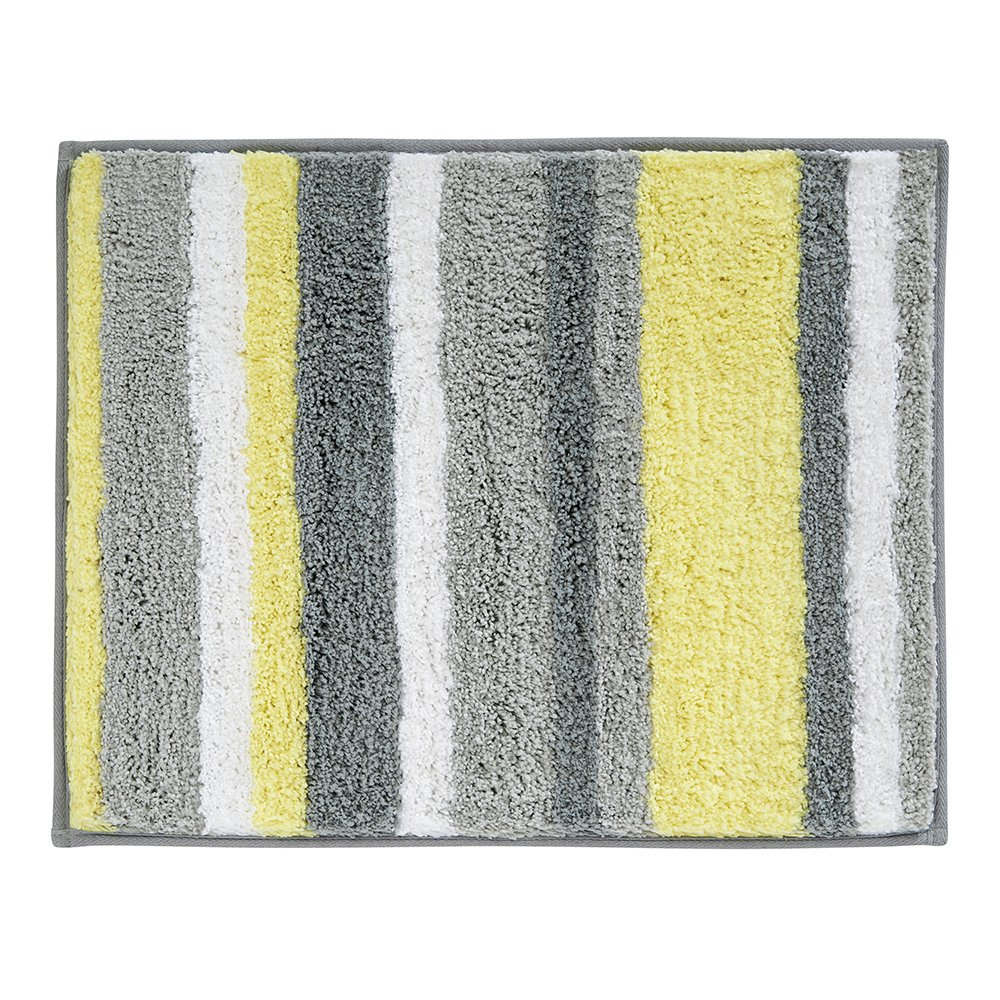 InterDesign Microfiber Stripz Bathroom Shower Accent Rug, 21 x 17, Gray/Yellow