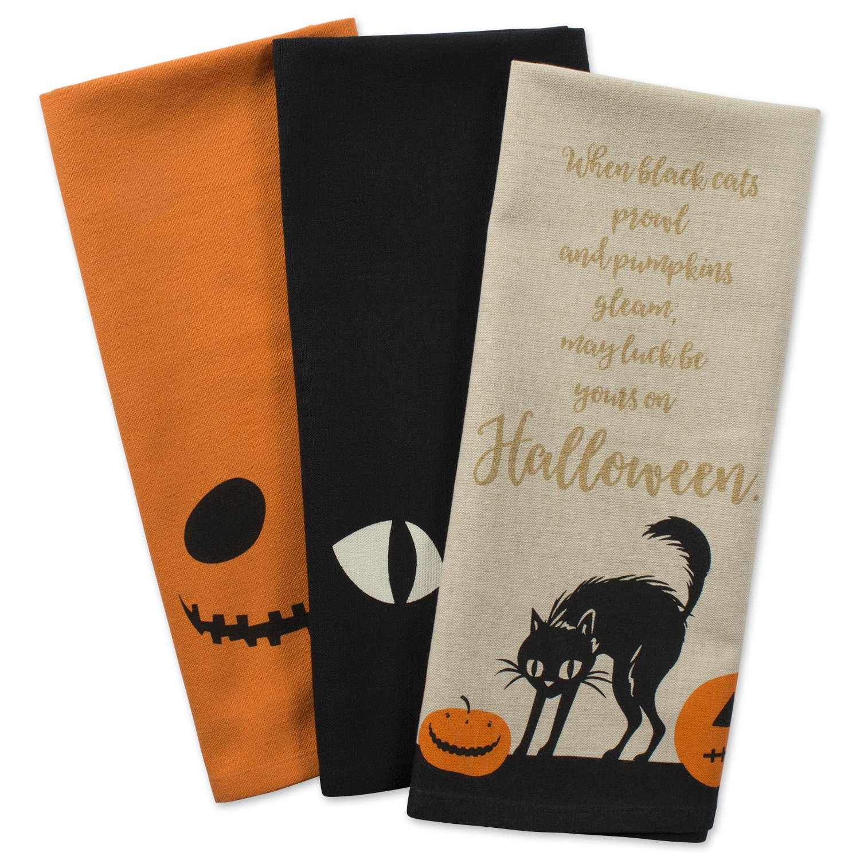 DII 100% Cotton, Oversized Decorative Halloween Holiday Printed Dish Towels, 18x28, Set of 3-Jack O Lantern
