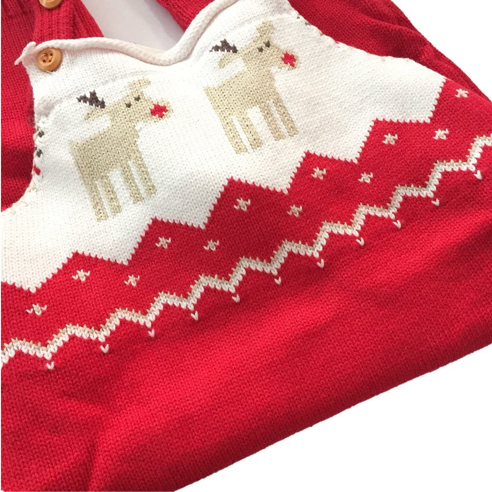 BESTERY REDODECO Baby Shoulder Strap Romper Christmas Deer Jumper Knitted Sweater Best Gift