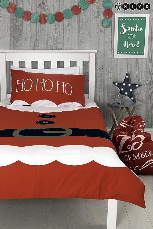 Hive Santas Little Helper - Funda de edredón y Almohada a Juego, diseño de Elfie