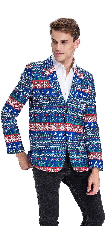YOU LOOK UGLY TODAY Modisch Herren Party Blazer Halloween Weihnachten  Kostüme Festliche Sakko Party Sakko mit Lustigen Mustern Mehrfarbig -Blau/XL:  ...