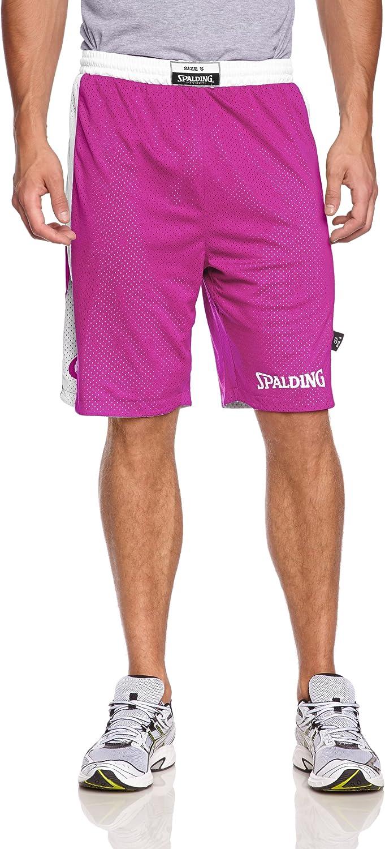 Hombre Rosa XXL Spalding Essential Reversible P Shorts de Basquetball con Cinturilla El/ástica y Logo Black//Pink