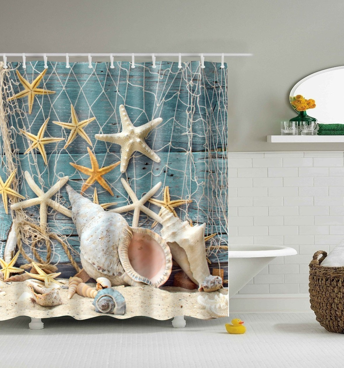 Shower Curtain Set,Starfish Seashell Bathroom Beach Ocean Decor Style Bath Linen 100%Waterproof Mildew Resistant PEVA 72W X 72H AmuKer