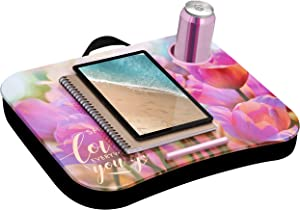 LapGear Cup Holder Lap Desk with Device Ledge - Pink Tulips - Fits up to 15.6 Inch Laptops - Style No. 46307