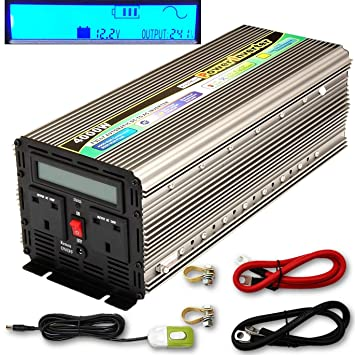 Amazon.es: YQX (Pico de 8000 W 4000W DC12V a AC240V Inversor de alimentación con Pantalla LCD + Interruptor de desmontaje