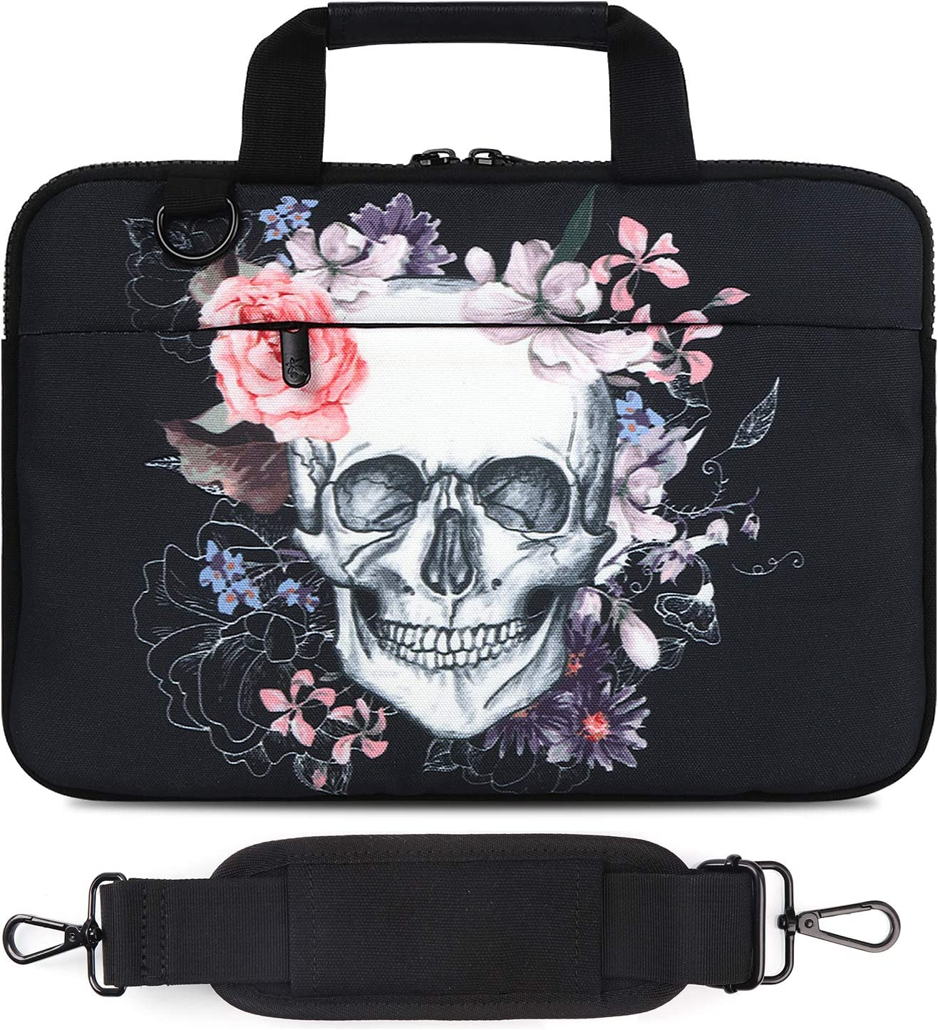 "Laptop Shoulder Bag, Compatible with MacBook Air, MacBook Pro Ultrabook Chromebook (12""-13.3"", Skull)"