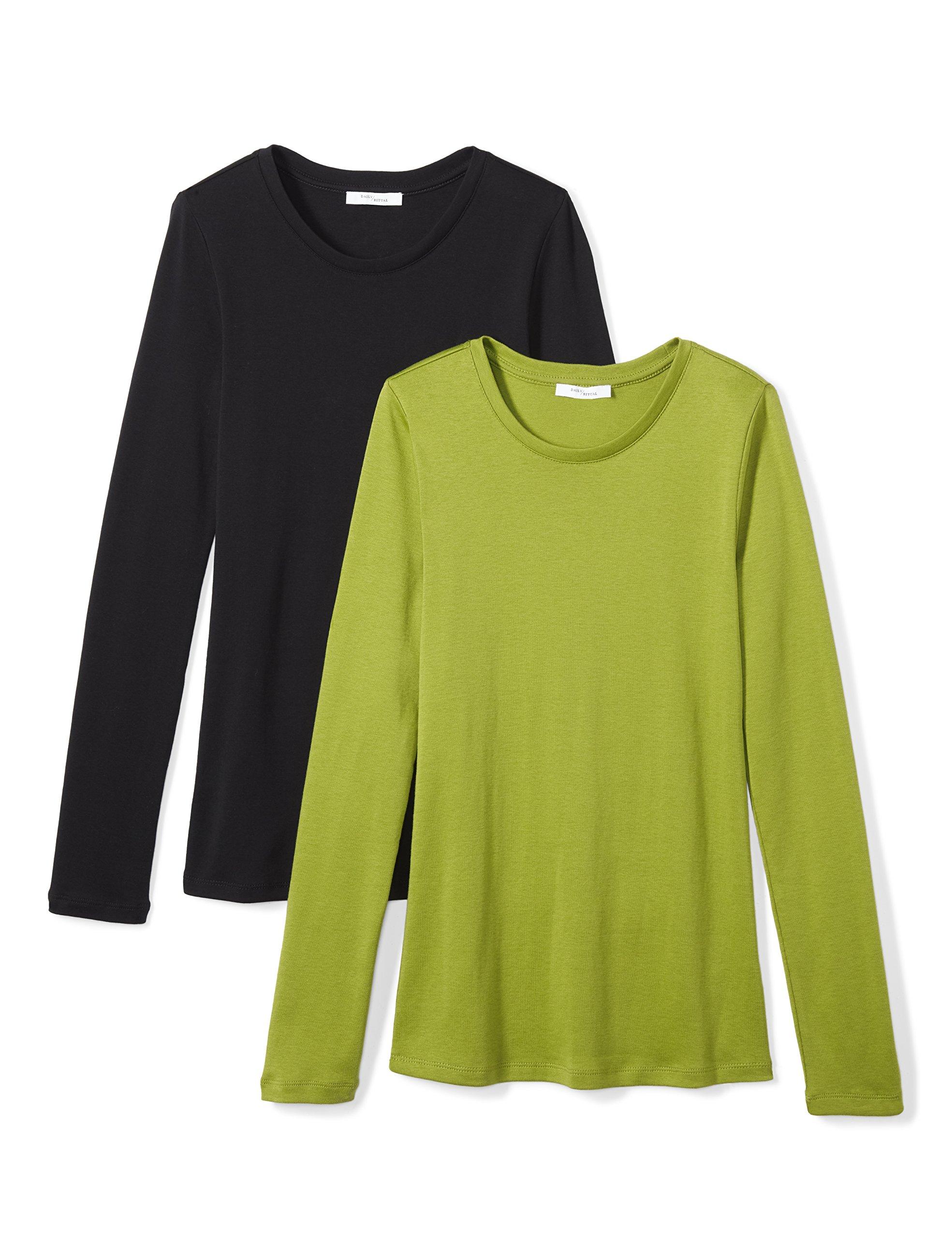 Daily Ritual Women's Midweight 100% Supima Cotton Rib Knit Long-Sleeve Crew Neck T-Shirt, 2-Pack, XL, Black/Woodbine Green