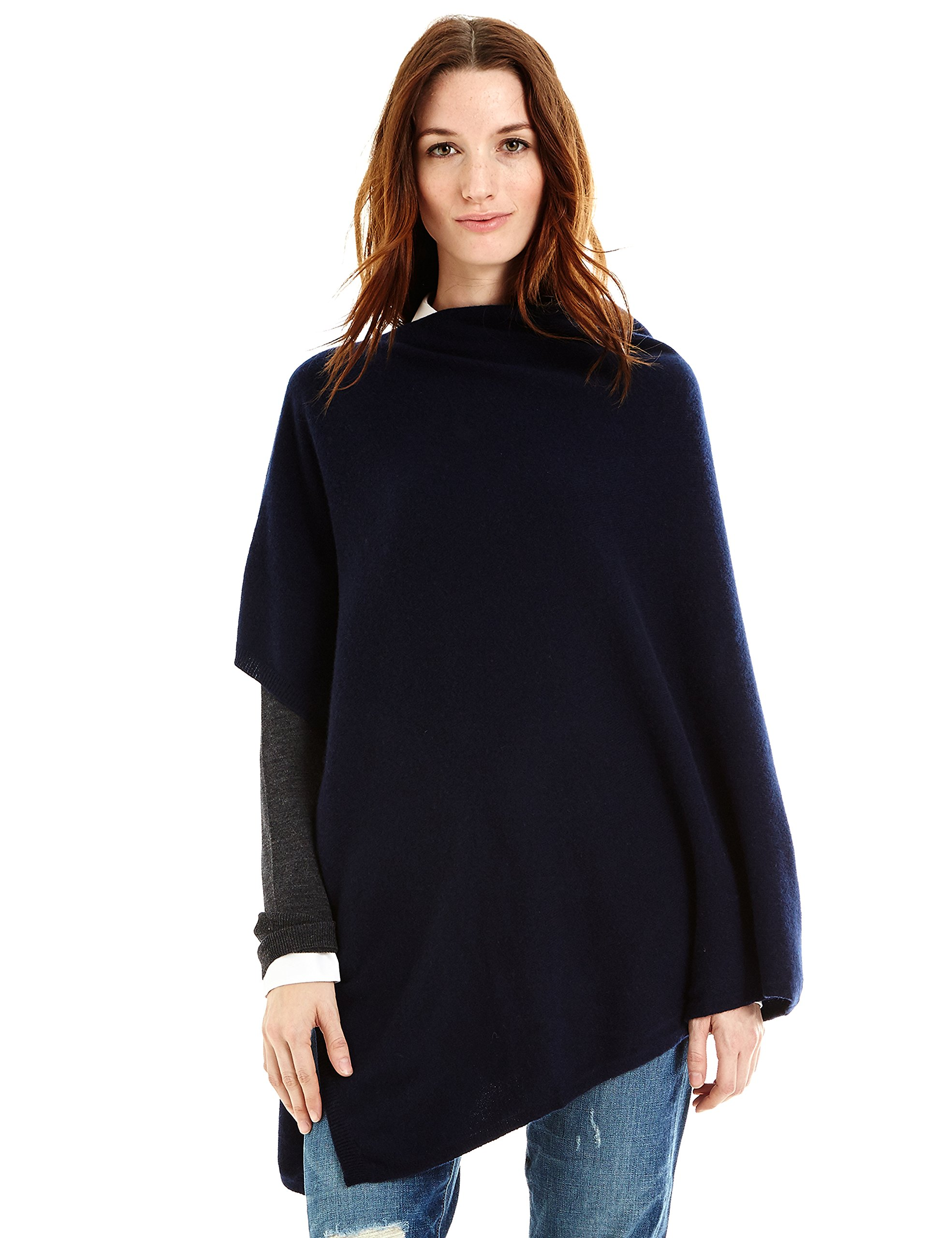New York Cashmere 100% Pure Cashmere Draped Poncho (French Navy)