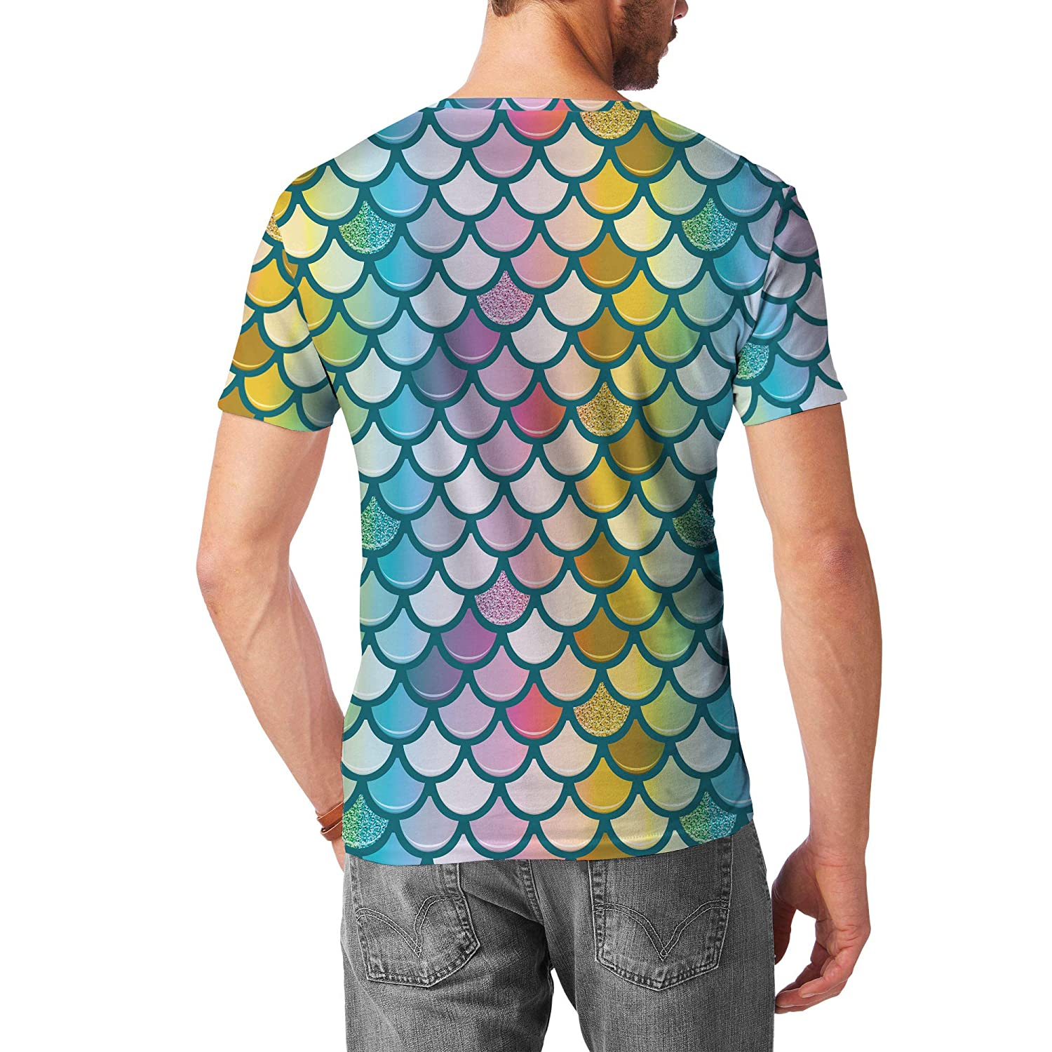 Queen of Cases Mermaid Glitter Rainbow Tail Mens Cotton Blend T-Shirt