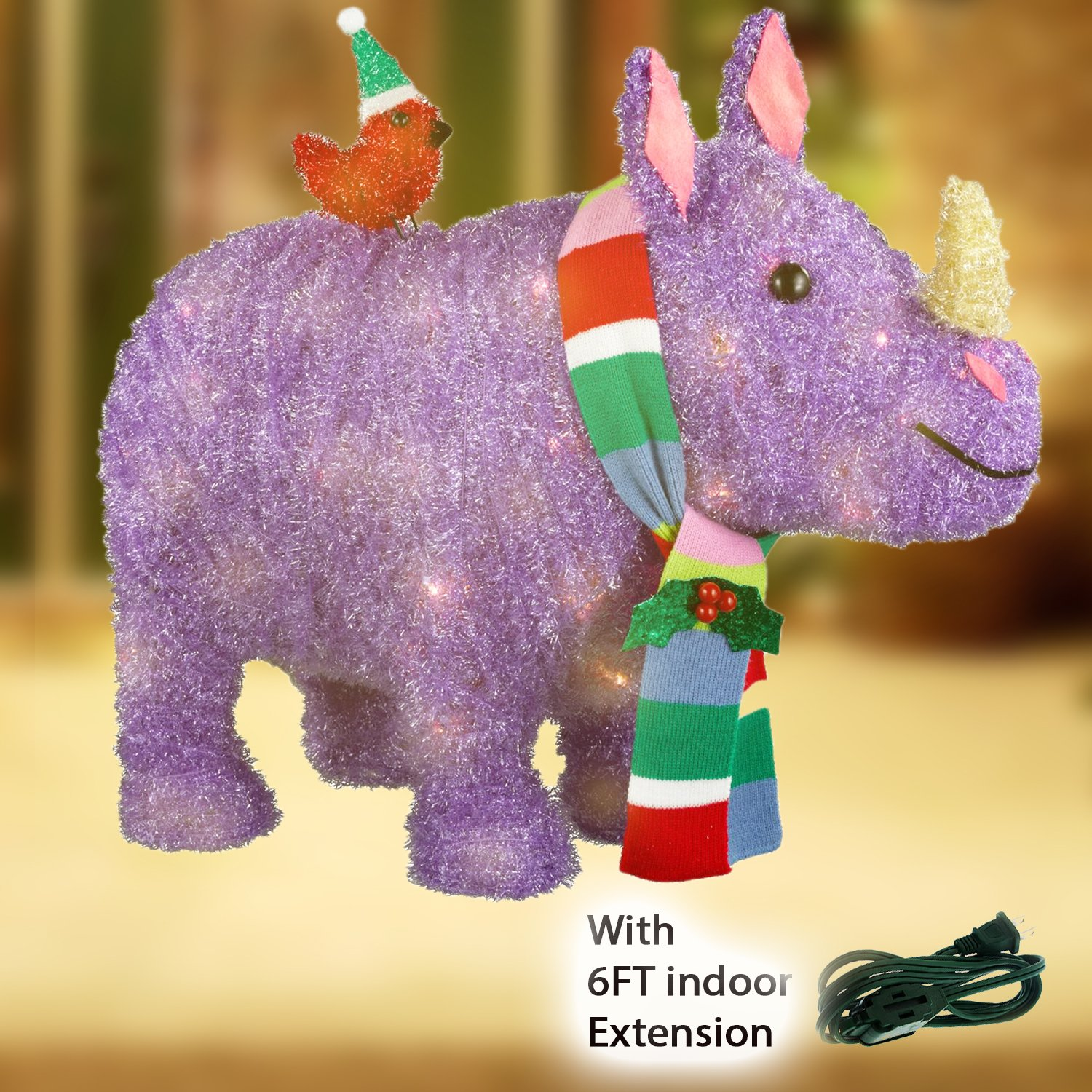 Christmas Holiday Decorations Tinsel Lit Rhino with Scarf and Small Bird 21'' + Extra BONUS 6FT Greenbrier Indoor Extension Cord