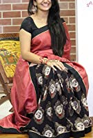 Sarees (Women's Clothing Saree For Women Latest Design Wear Sarees New Collection in Black and Gajri Bhagalpuri Silk Latest Saree With Designer Blouse Free Size Beautiful Saree For Women Party Wear Offer Designer Sarees With Blouse Piece)