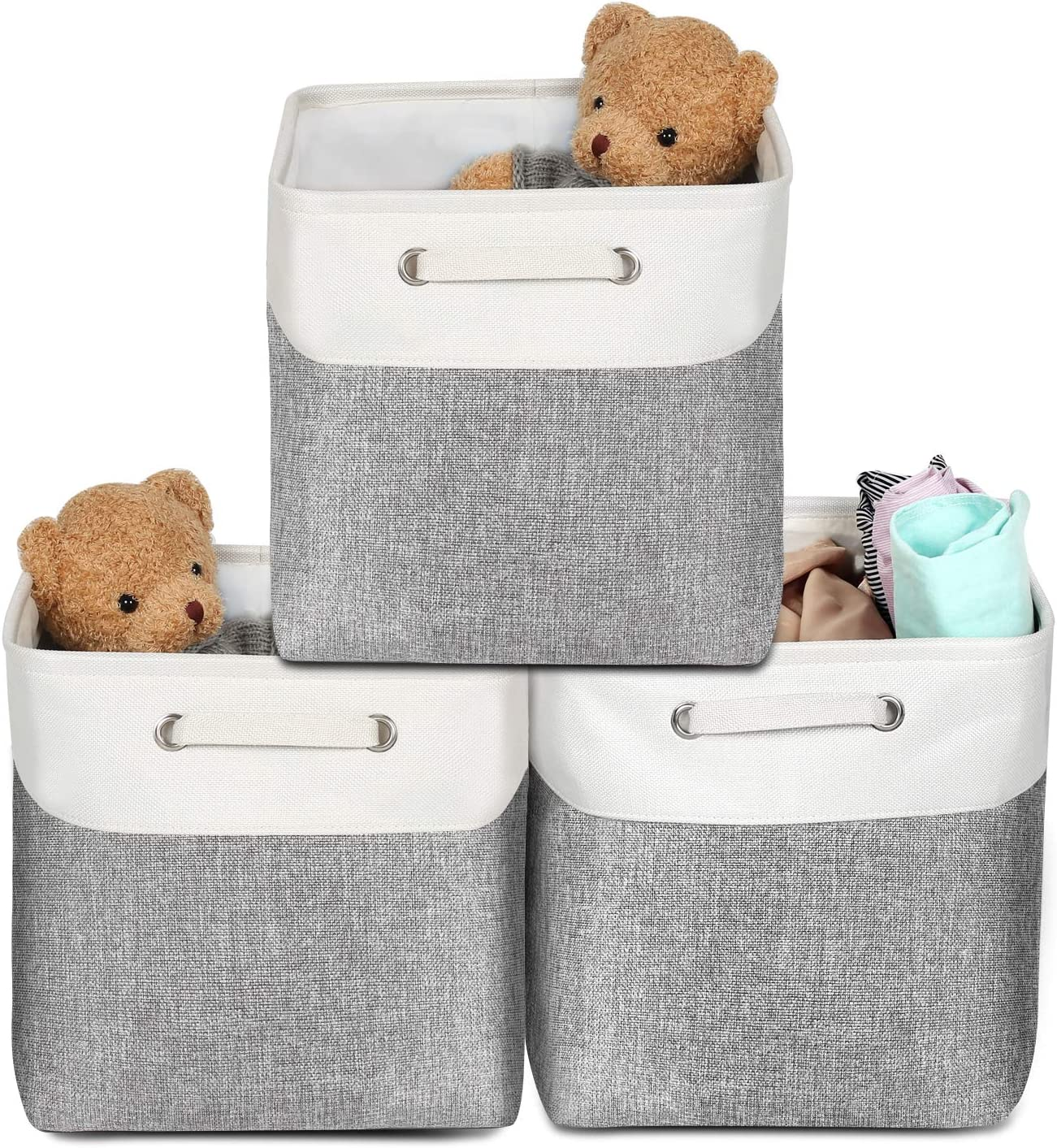 3 Pack Foldable Storage Bins Set Collapsible Cube Storage Basket with Carrying Handles, AivaToba Fabric Storage Basket for Shelf Nursery Home Closet & Office